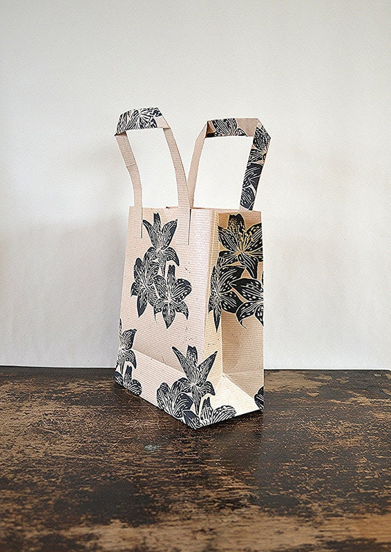 Hand Printed Brown Paper Gift Bag  - Lily