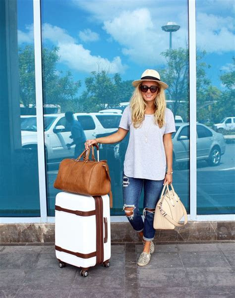 Cute Travel Outfit, Airplane Style, Panama Hat, Ripped