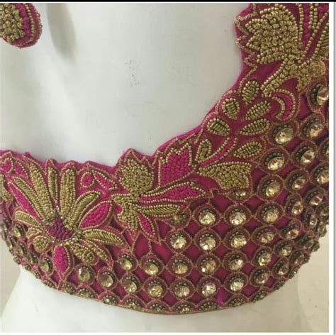 Cutwork blouse with kundan   Blouse design models in 2019