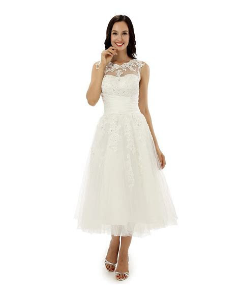 A line Tea length Wedding Dress for Older Brides Lace