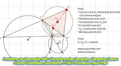 Problema de Geometría 898: Circunferencias Secantes, Tangente Común Exterior, Circuncentro, Puntos Colineales, GeoGebra, Animación HTML5 para Tabletas