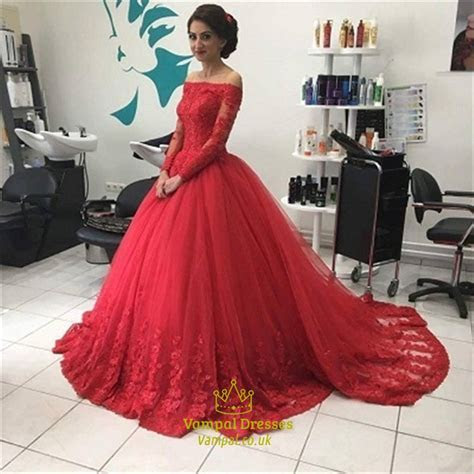 Red Lace Off The Shoulder Long Sleeve Ball Gown Wedding