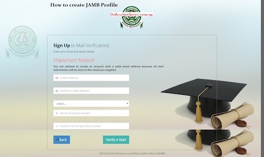 JAMB Pre-Registration For 2017 Commences - How to Create JAMB Profile