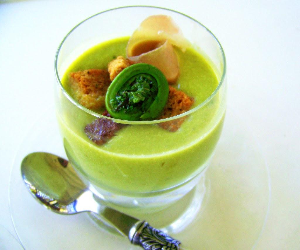 Fiddlehead Greens Soup With Croûtons And Bayonne Ham