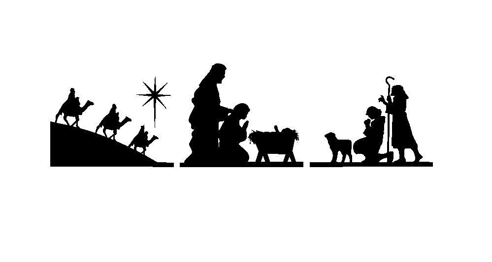 SALE- Three Piece Nativity  with Wisemen, Shephards, Mary, Joseph, and Baby Glass Block Light Vinyl Decal Set- Buy 2 Get 1 Free