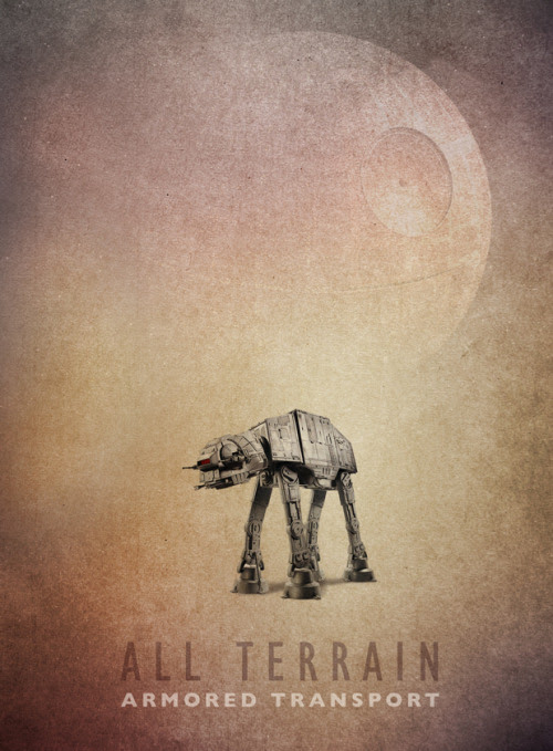 Rad Star Wars AT-AT poster design by Pacalin (Pac-Attack). Check out more of her work HERE and make sure that you follow her, if you are on Tumblr. ATAT by Pauline Acalin / Pacalin (deviantART) Via: pacalin