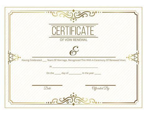 Free Printable Gold Scroll Certificate of Vow Renewal   I