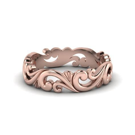 Filigree Womens Wedding Band In 14K Rose Gold