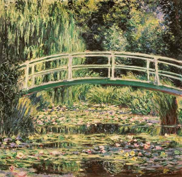 Claude Monet - Puente en el jardín de Monet con nenúfares blancos