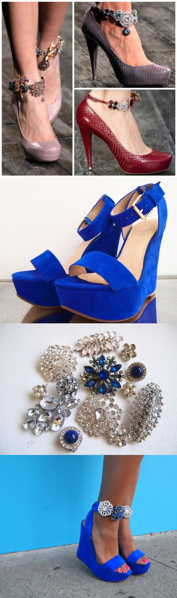 ankle straps (just remember that ankle straps break up the leg line and make it look shorter)