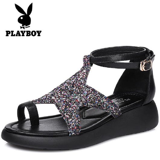 Women PLAYBOY BUNNY Star Toe Ring Sandals