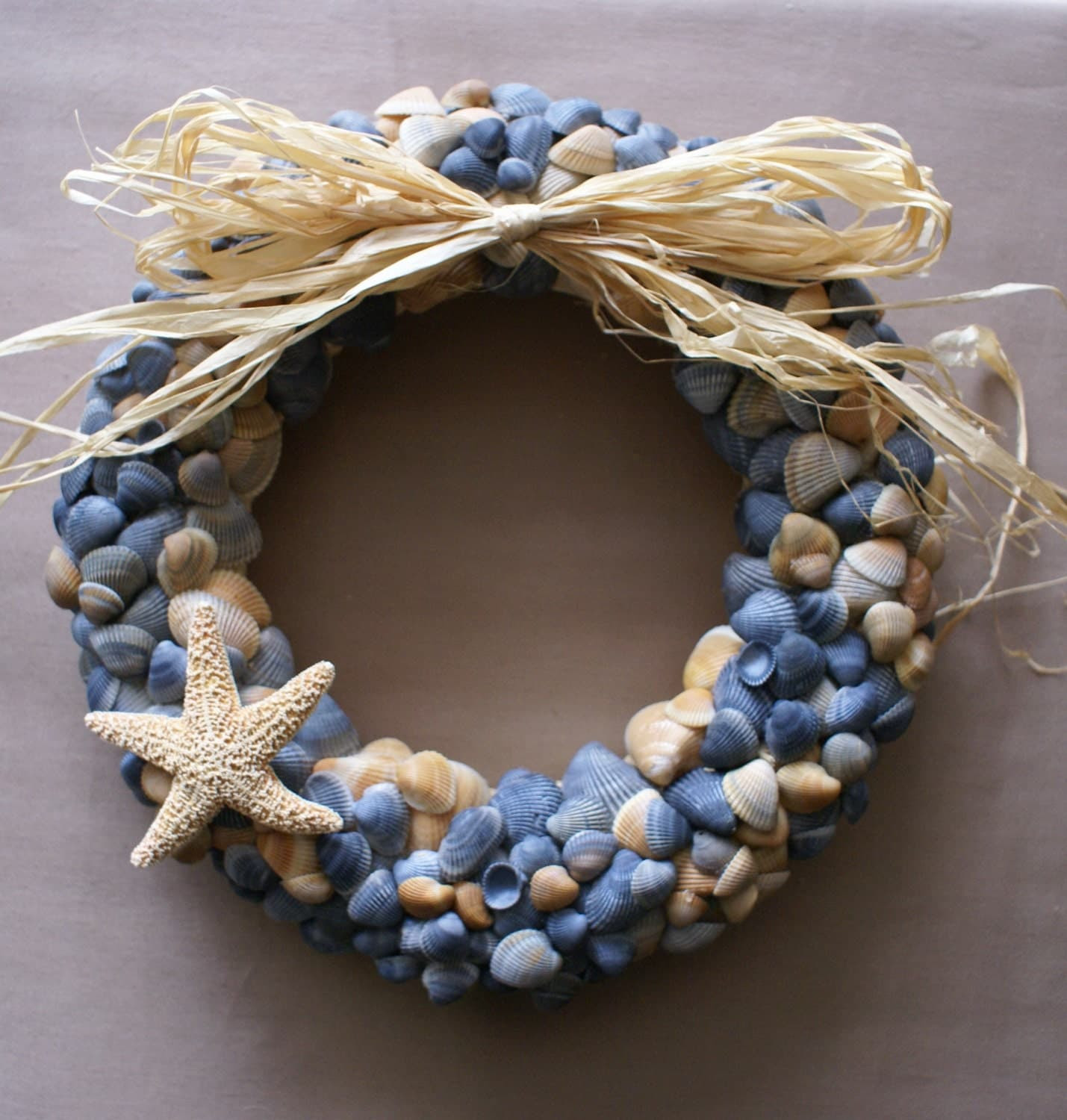 Seashell wreath 11 blue beach wreath coastal decor by JustShellin