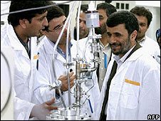Iran's Preisdent Ahmandinejad on a recent visit to the Natanz nuclear facility