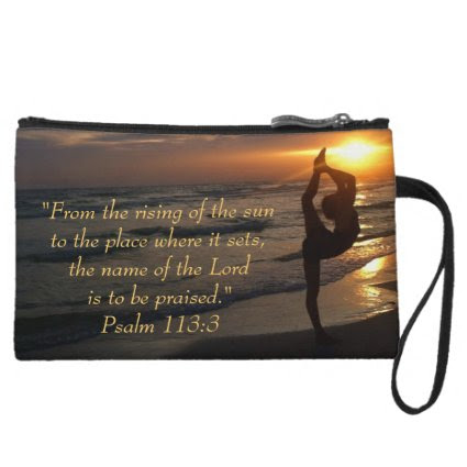 Dancer's Silhouette Sunset on the Beach, Scripture Wristlet Purses