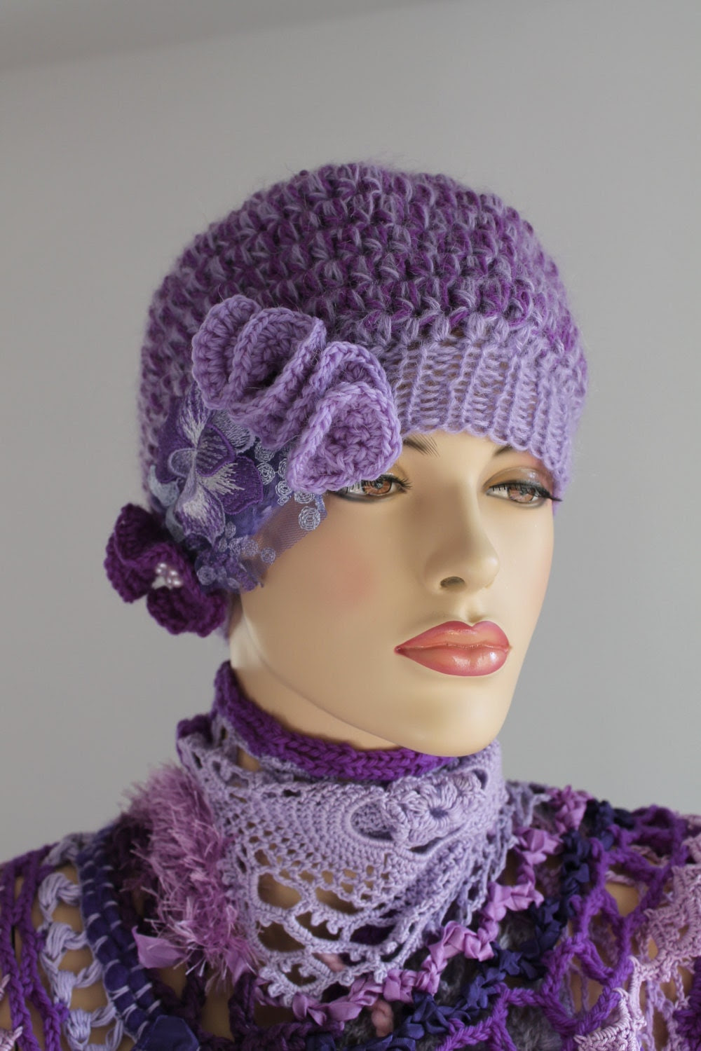 Chunky Crocheted hat  in shades of lilac  - Winter Accessories -Wearable Art