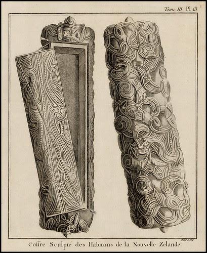 Coffre Sculpte des Habitans de la Nouvelle Zelande