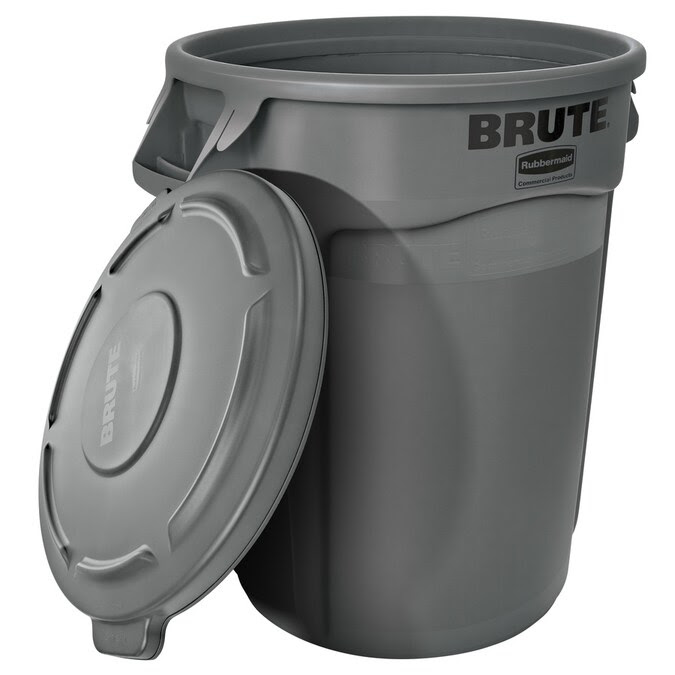Commander Commercial 32 Gallon Black Plastic Trash Can With Lid In The Trash Cans Department At Lowes Com