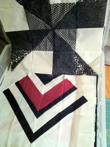 Black, white, color quilt