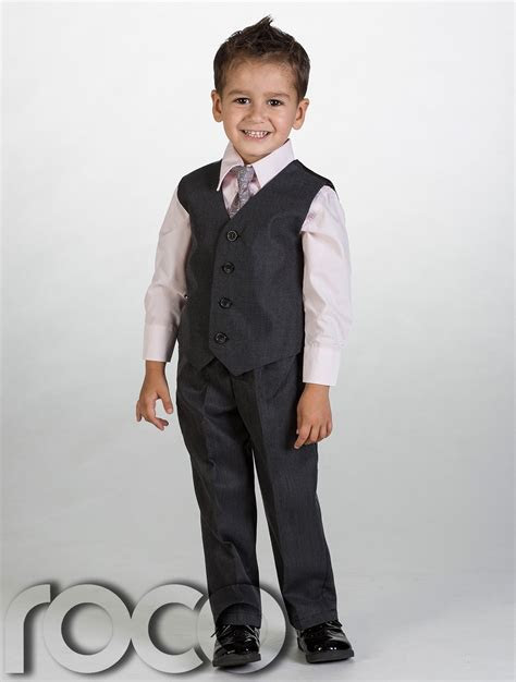 Boys Charcoal Waistcoat Suit, Baby Boys Grey Suits, Boys