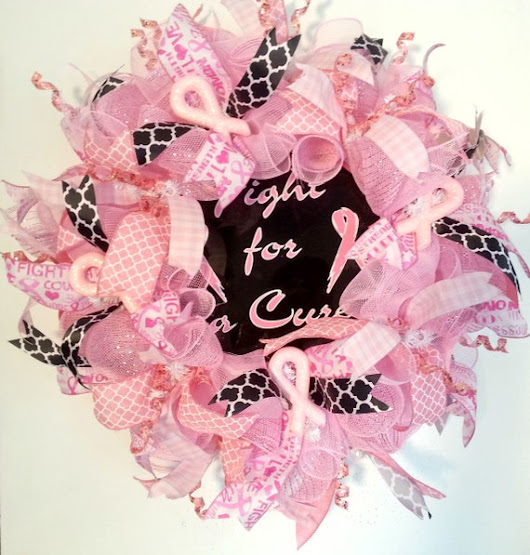 Breast Cancer Wreath Pink And Black Wreath by ArtificialWreaths