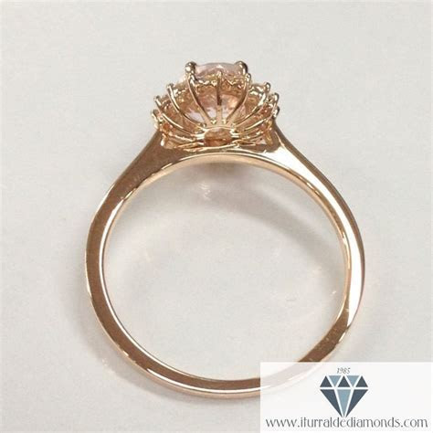 Oval Cut Morganite Diamond Halo Plain Band Engagement Ring