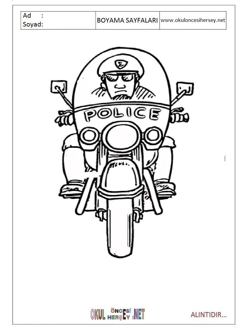 Polis Boyama Sayfaları
