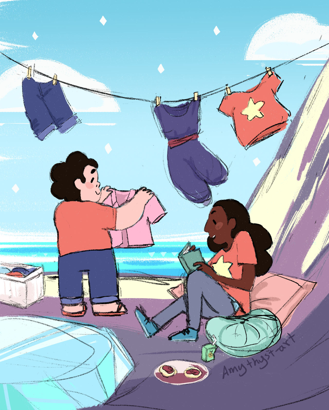 """""""the sun is bright, our shirts are clean, we're sitting up above the sea """" connverse bomb day one: jam buds! a day late, but oh well. i like to think post-training laundry day hangouts are a regular..."""