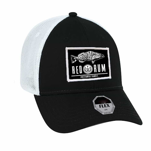 Black Grouper - Flexfit Fishing Hats with Curved Brim | Red Rum Intl.