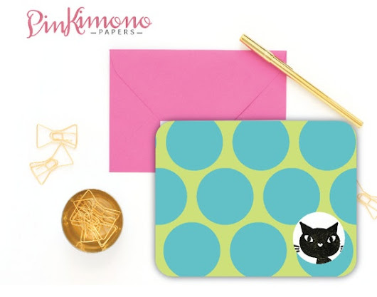 8 Peek-A-Boo Kitty Note Cards with Colorful by PinkimonoPapers