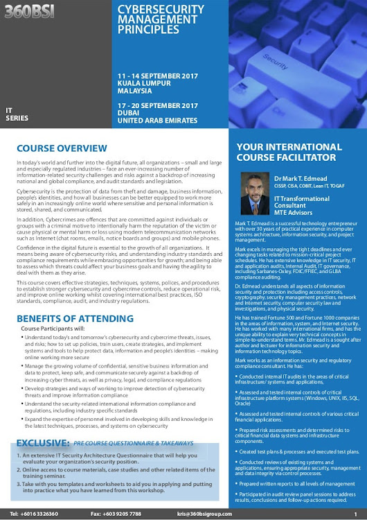 Cybersecurity Management Principles, 11 - 14 Sept 2017 KL, Malaysia /…