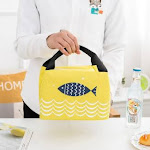 (Yellow) - Dsstyle Insulated Cute Cartoon Picnic Basket Bag with Zipper Portable Hamper Cooler Bag for Outdoor Picnic Camping Hot Yellow