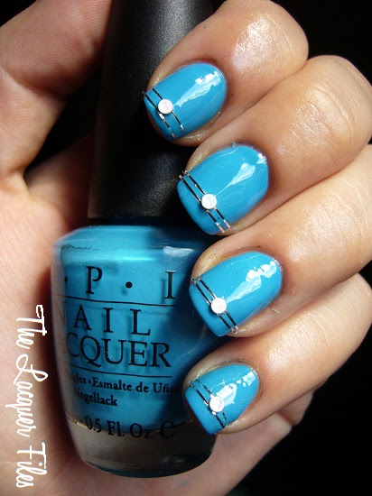 OPI Ogre-the-Top-Blue Shrek Forever After Collection 2010 Striping Tape Dollar Nail Art Silver Striping Tape Nail Art Baby Pearls Nail art Design