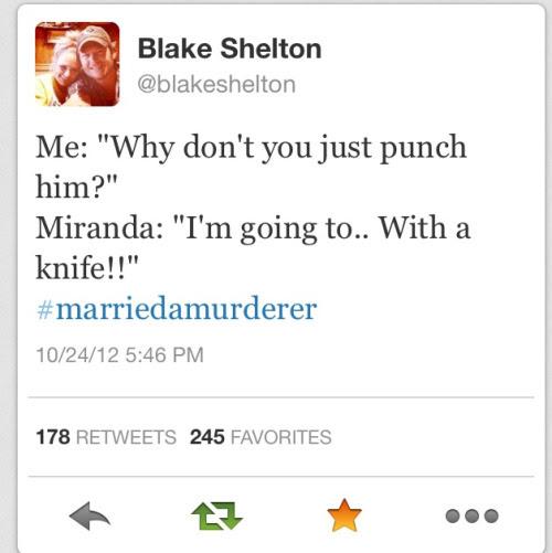 Funny Twitter Tweet Country Music Miranda Lambert Blake Shelton Golden Pioneer