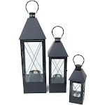 Set of 3 Modern Black Metal and Glass Decorative Outdoor Oil Lanterns