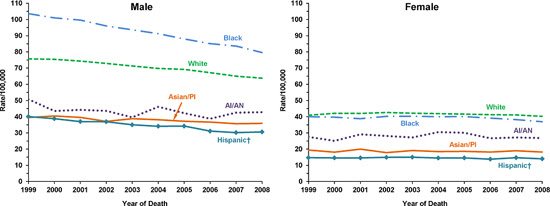 Line charts showing the changes in lung cancer death rates for males and females of various races and ethnicities.