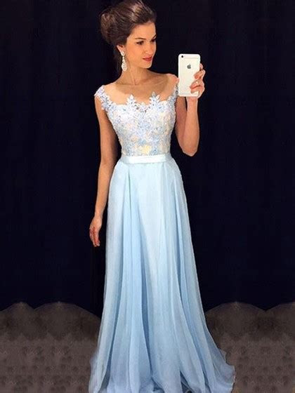 Affordable Scoop Neck Blue Chiffon Tulle Appliques Lace