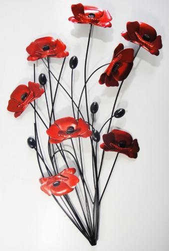 Metal Wall Art - Poppy Flower Bunch Black Stems