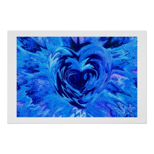 Beautiful Blue Heart print