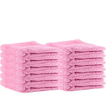 """Puffy Cotton Premium 13"""" by 13"""" Hotel and Bath - Bathing Products to Buy Pink"""