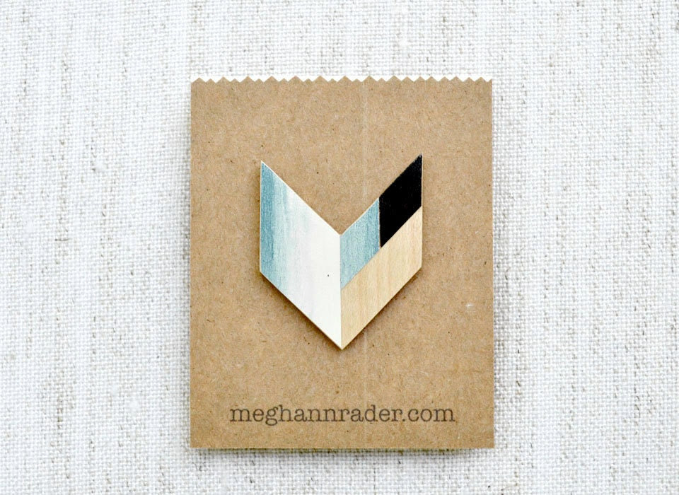 Wooden Geometric Chevron Brooch - Blue Ombre - MeghannRader