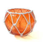 Handcrafted Nautical Decor Orange Japanese Glass Fishing Float Bowl with Decorative White Fish Netting 6""
