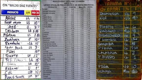 Comparación de los precios en enero. De izq. a der. Agromercado arrendado a la CPA Waldo Díaz Fuentes en Playa, listado de precios de los MAE y agromercado administrado por la CCS Antero Regalado. Autor: Cubadebate.