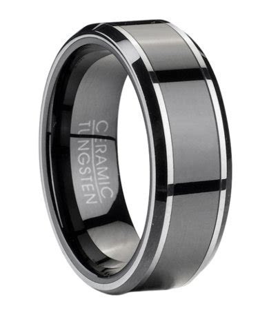Men's Tungsten Wedding Ring with Black Ceramic Inlay