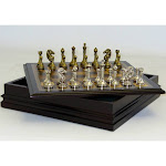 Metal Chess Set with Deluxe Wood Board