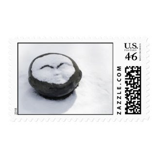 Happy Buddha With Snow Facial Postage Stamp