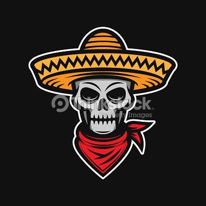 Calavera Mexicana En Sombrero Bandido Ladrón Ladrón Arte Vectorial
