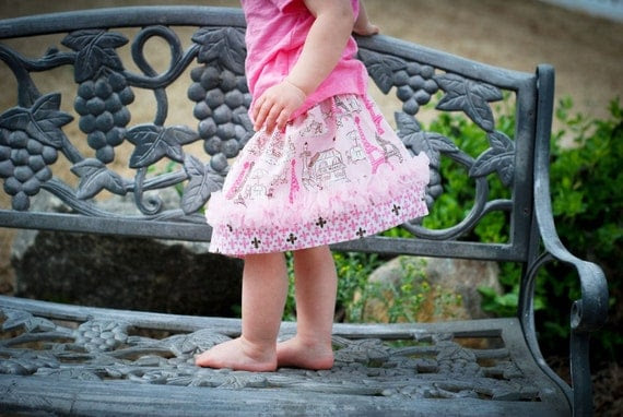 NEW for Spring....Sarah Twirl Skirt with Chiffon Ruffle.... Ooo La La, Paris, Sizes 6 months-8yrs