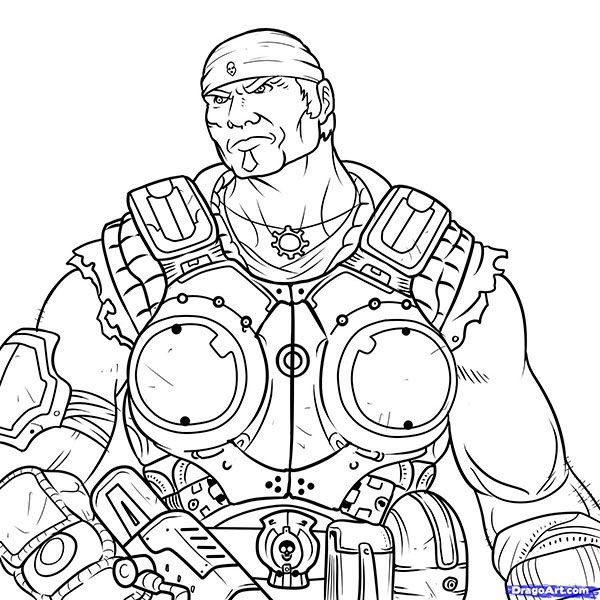 How To Draw Markus Feniks From Gears Of War With A Pencil Step By Step