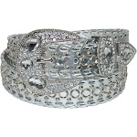 CTM Women's Western Belt with Rhinestones and Studs - Silver Large
