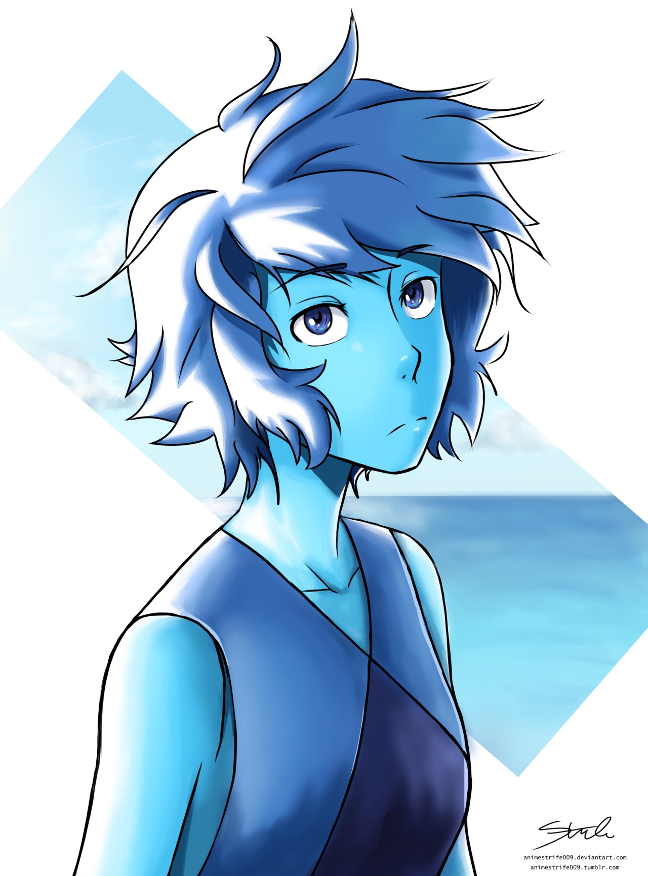 Had no ideas, so dug out this older sketch. Quickly painted it and fixed the lineart a little. Wanted to draw Lapis in my manga style. :)